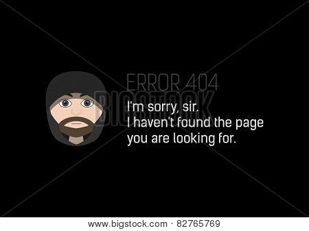 Stylized Error 404 Page Not Found With Hooded Man
