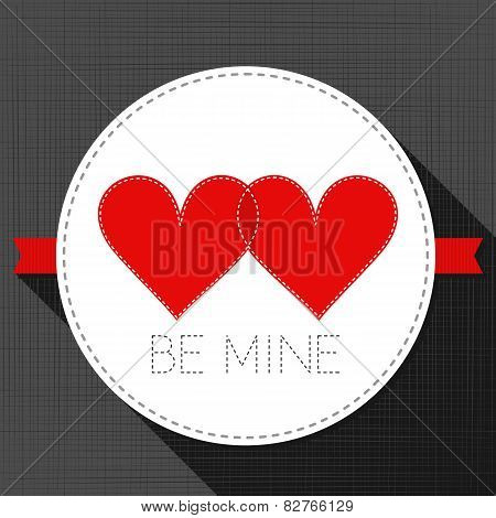 be mine red hearts in love lovely sewed romantic Valentines Day card on gray
