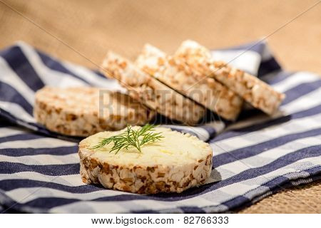 Closeup image of a delicious bread with butter