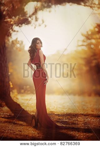 Beautiful girl in autumn garden