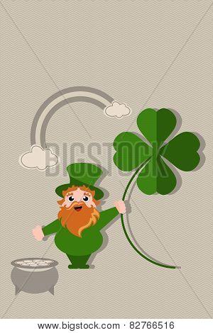 leprechaun holding four leaf clover