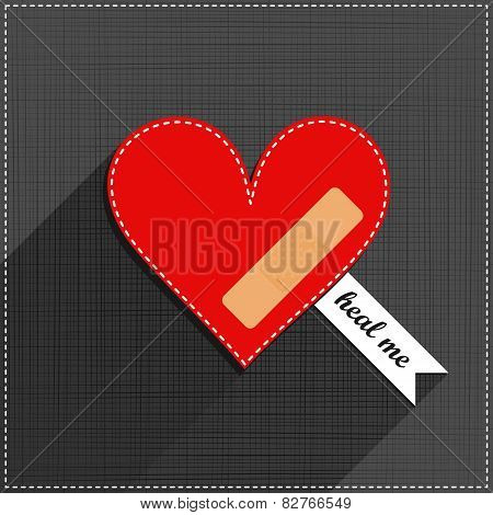 red heart heal me sewed romantic Valentines Day card on gray