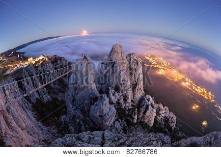 Mountain Ai-Petri. Night, Full Moon (Crimea)