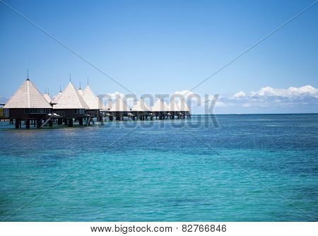 Overwater bungalows paradise beach