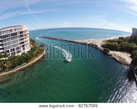 Coastal Inlet In Florida Aerial View
