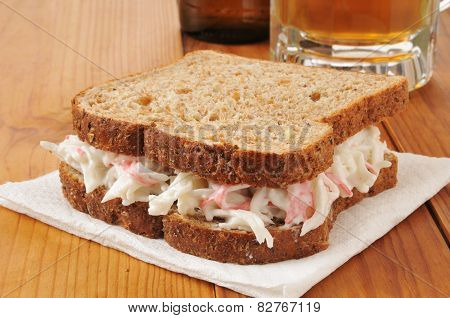 Crab Sandwich And Beer