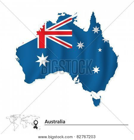 Map of Australia with flag - vector illustration