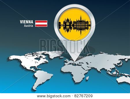 Map pin with Vienna skyline - vector illustration