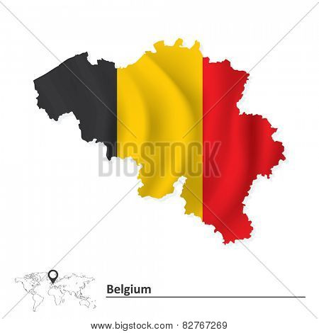 Map of Belgium with flag - vector illustration