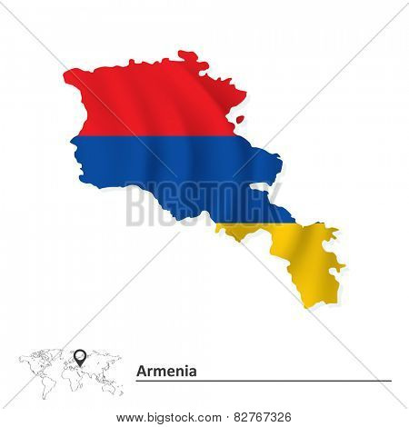 Map of Armenia with flag - vector illustration