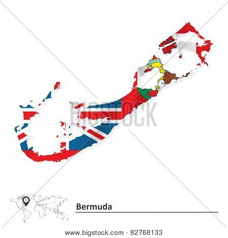 Map of Bermuda with flag - vector illustration