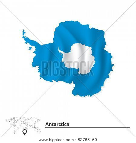 Map of Antarctica with flag - vector illustration