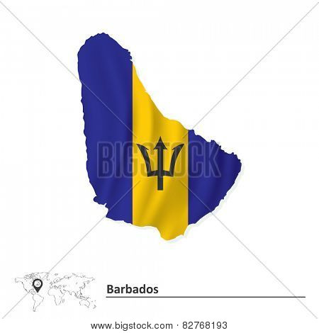 Map of Barbados with flag - vector illustration