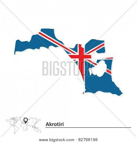 Map of Akrotiri with flag - vector illustration
