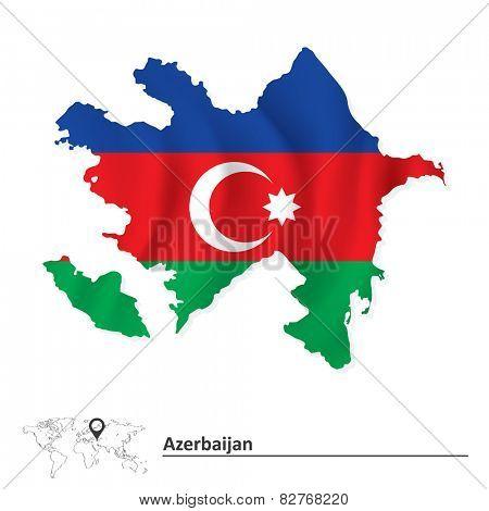 Map of Azerbaijan with flag - vector illustration