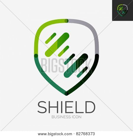 Minimal line design logo, business shield icon, branding emblem