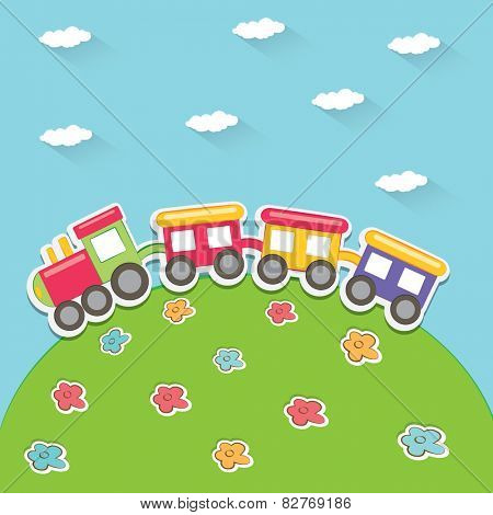 Happy cartoon train. Vector illustration