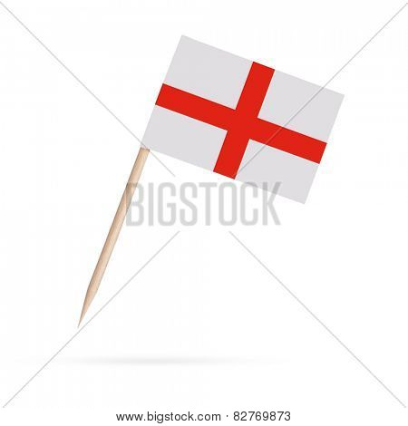 Miniature paper flag England. Isolated English flag pointer on white background. With shadow below