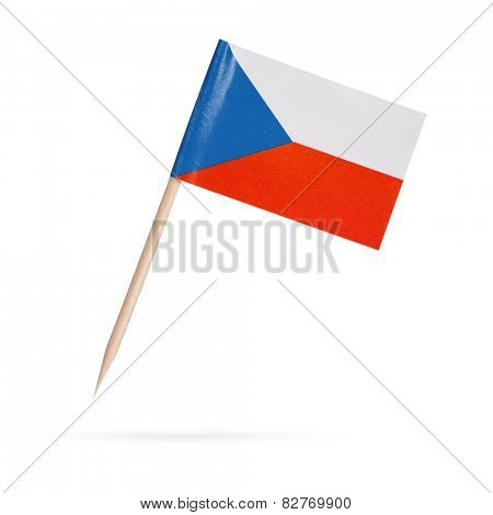 Miniature paper flag Czechia. Czech Flag Isolated on white background.With shadow below