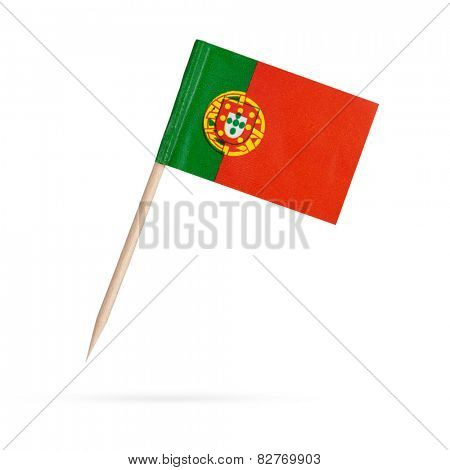 Miniature paper flag Portugal. Isolated on white background.With shadow below