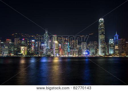 Cityscape And Skyline Of Hongkong Harbor