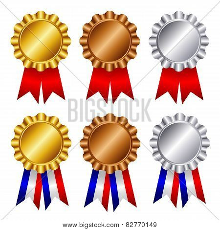 Gold , Silver And Bronze Award Ribbons