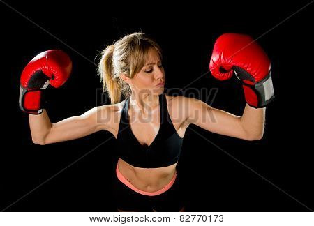 Young Happy Beautiful Boxer Girl With Boxing Gloves Arms In Victory Sign With Fit And Healthy Body
