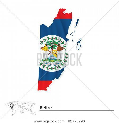 Map of Belize with flag - vector illustration