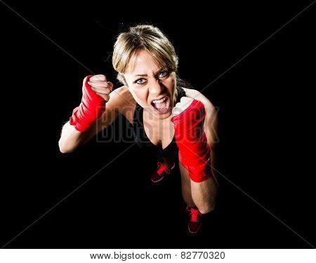 Young Attractive Girl Training Boxing Fist Wrapped Fighting Woman Concept
