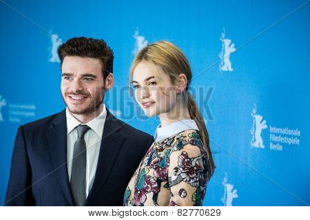 BERLIN, GERMANY - FEBRUARY 13:  Richard Madden, Lily James, 'Cinderella' photocall.65th Berlinale International Film Festival at Grand Hyatt Hotel on February 13, 2015 in Berlin, Germany