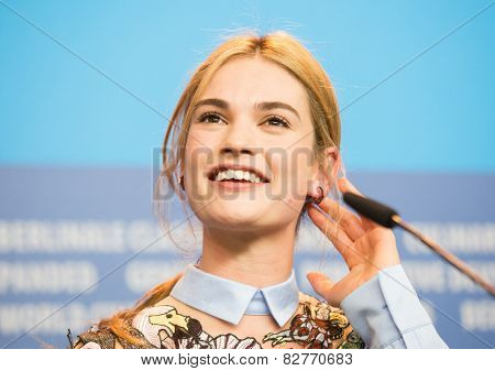 BERLIN, GERMANY - FEBRUARY 13: Lily James, 'Cinderella' press conference, 65th Berlinale International Film Festival at Grand Hyatt Hotel on February 13, 2015 in Berlin, Germany