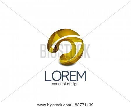 Circle business logo, target, location concept. Made of color flowing overlapping shapes