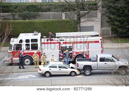 Coquitlam BC Canada - February 11, 2015 : Top shot of the scene of two cars accident happened in afternoon in Coquitlam BC Canada.