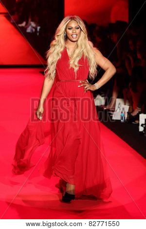 NEW YORK-FEB 12: Actress Laverne Cox wears Donna Karan at Go Red for Women - The Heart Truth Red Dress Collection at Mercedes-Benz Fashion Week at Lincoln Center on February 12, 2014 in New York City.