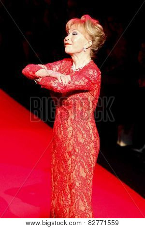 NEW YORK-FEB 12: Barbara Eden wears Carmen Marc Valvo at Go Red for Women-The Heart Truth Red Dress Collection at Mercedes-Benz Fashion Week at Lincoln Center on February 12, 2014 in New York City.
