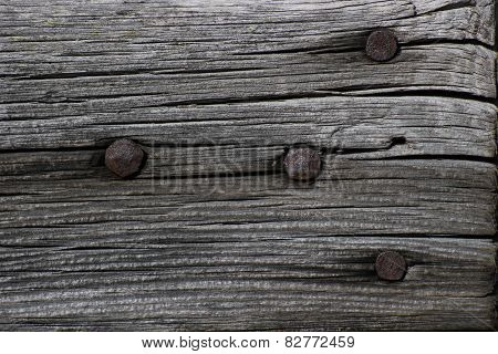 Lath With Rusty Nails