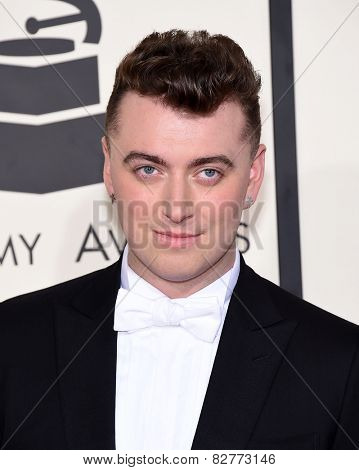LOS ANGELES - FEB 08:  Sam Smith arrives to the Grammy Awards 2015  on February 8, 2015 in Los Angeles, CA