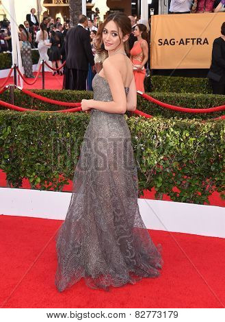LOS ANGELES - JAN 25:  Emmy Rossum arrives to the 21st Annual Screen Actors Guild Awards  on January 25, 2015 in Los Angeles, CA