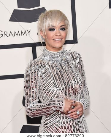 LOS ANGELES - FEB 08:  Rita Ora arrives to the Grammy Awards 2015  on February 8, 2015 in Los Angeles, CA