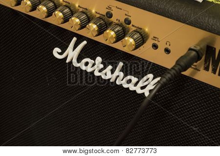 BRNO, CZECH REPUBLIC - NOVEMBER 30, 2014: Marshall amplifier.