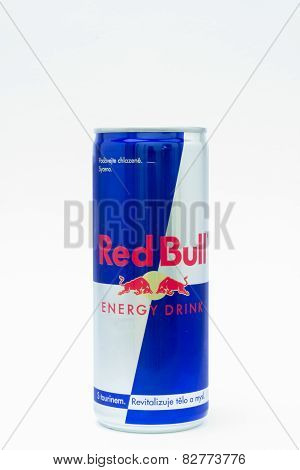 ZNOJMO, CZECH REPUBLIC - OCTOBER 1, 2014: Can of Red Bull Energy Drink on white background.