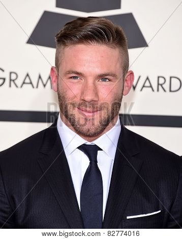 LOS ANGELES - FEB 08:  Julian Edelman arrives to the Grammy Awards 2015  on February 8, 2015 in Los Angeles, CA