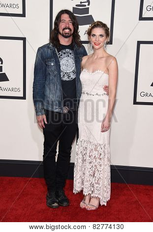 LOS ANGELES - FEB 08:  Dave Grohl & Jordyn Blum arrives to the Grammy Awards 2015  on February 8, 2015 in Los Angeles, CA