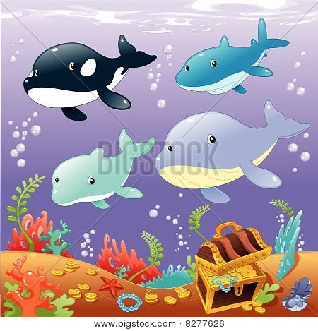 Family animals in the sea.