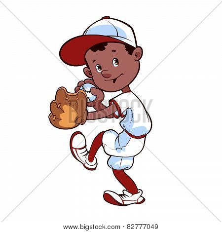 Baseball Player With Ball And Glove