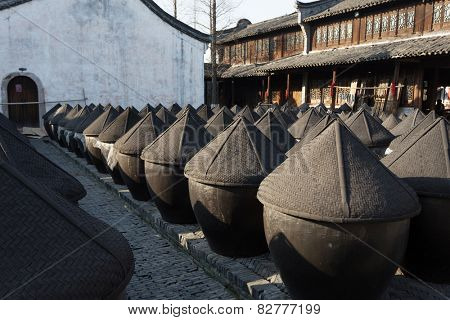 traditional chinese wine fermentation cans in Wuzhen
