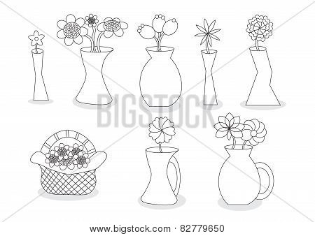 Linear Beautiful Cartoon Flower Vases