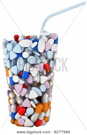 Glass Shape Assembled Of Drugs And Pills