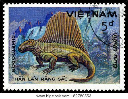Vintage  Postage Stamp. Dimetrodon.