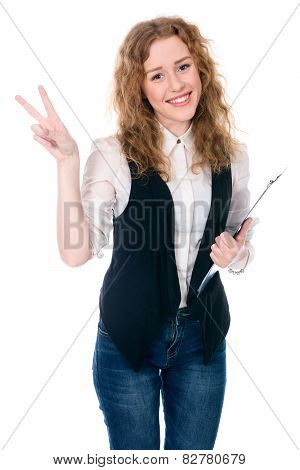 Business Woman Showing Victory Sign.